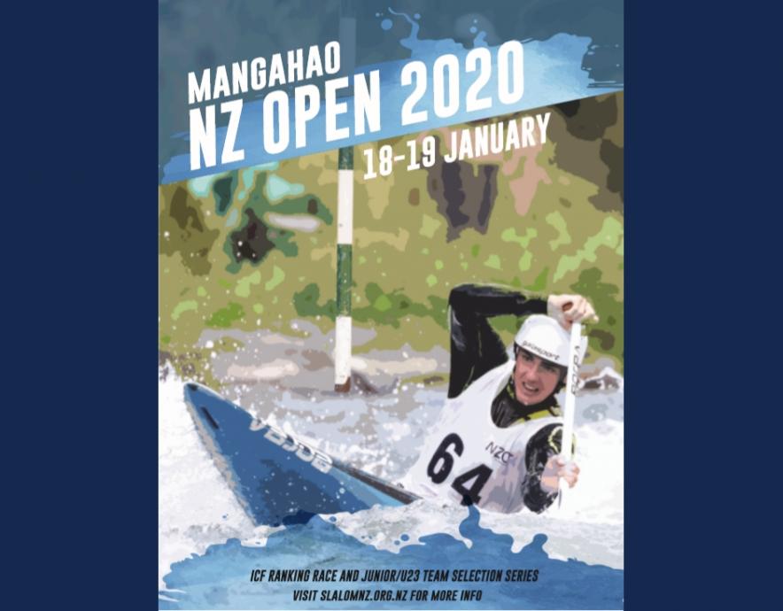 2020 NZ Open Canoe Slalom poster