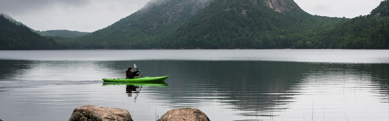 Paddle100 best canoe kayak stand up paddling SUP locations planet world tourism travel Jordan Pond in Acadia National Park