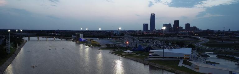 Oklahoma City canoe venue under lights