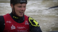 Why not give it a go? Great Britain's Chris Bowers has a crack at Extreme Canoe/Kayak Slalom